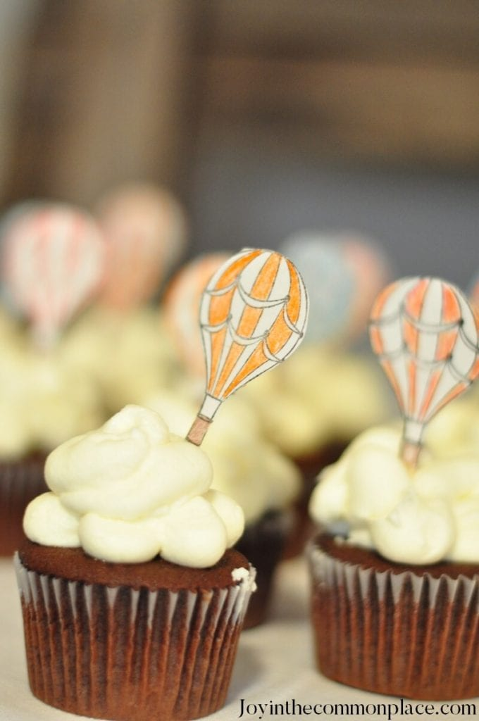 Vintage Hot Air Balloon Baby Shower- Cloud Cupcakes