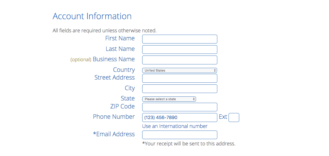 (4) Fill out Account Info