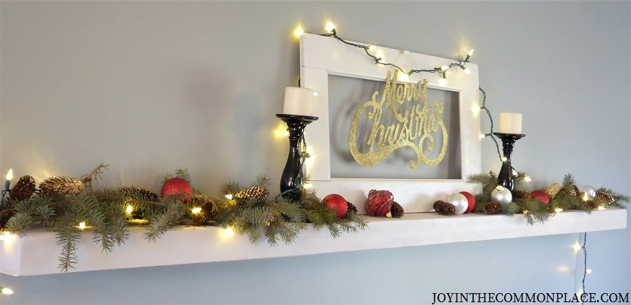 Christmas wall shelf with pine cones