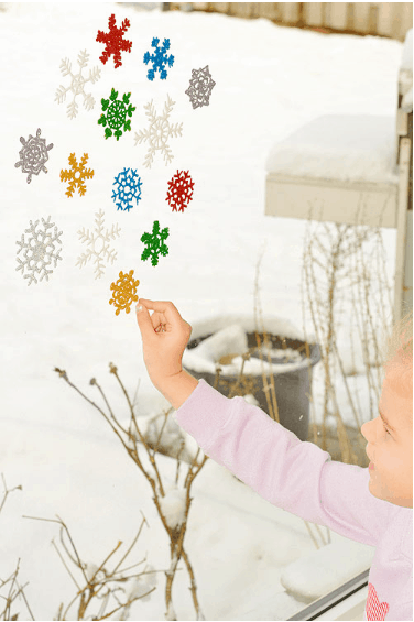 Glittery Snowflake Window Clings