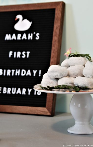 Donuts & Felt Letter Board- Swan First Birthday