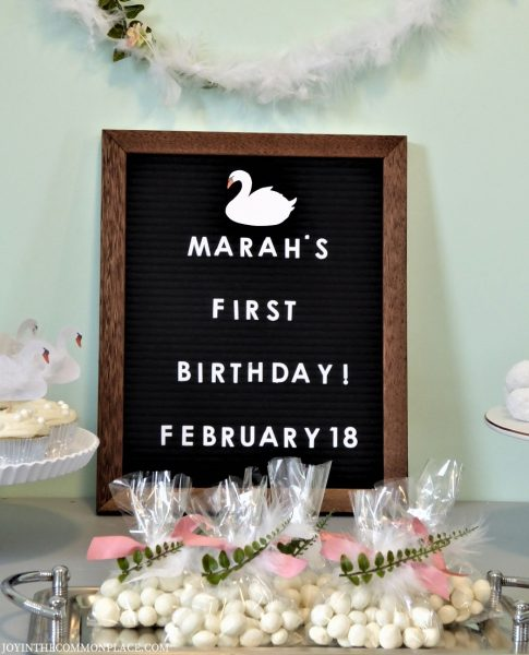Felt Letter Board & Party Favors- Swan First Birthday