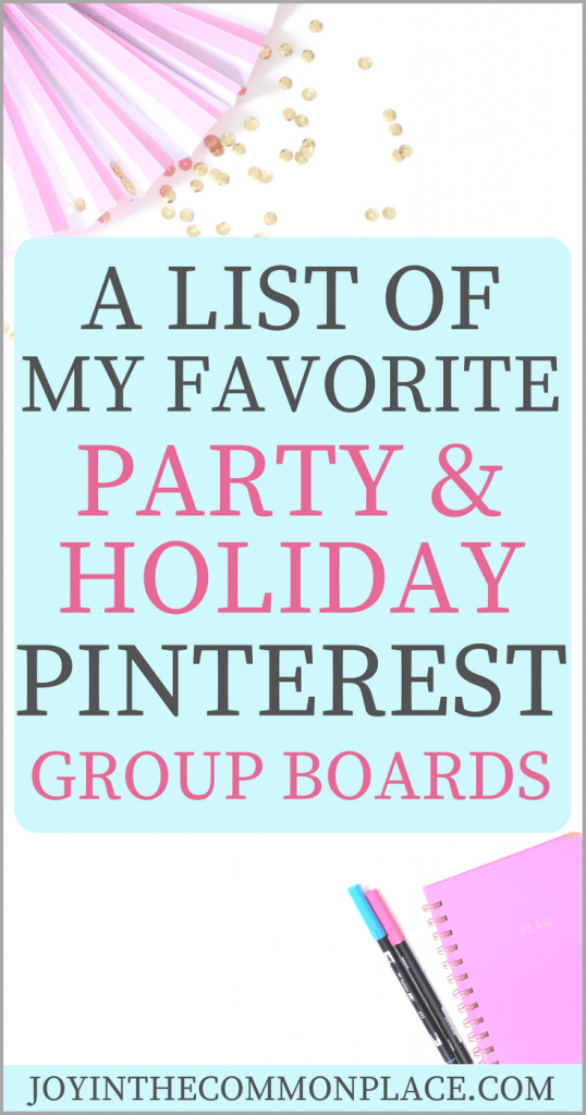 Holiday and Party Pinterest Group Boards