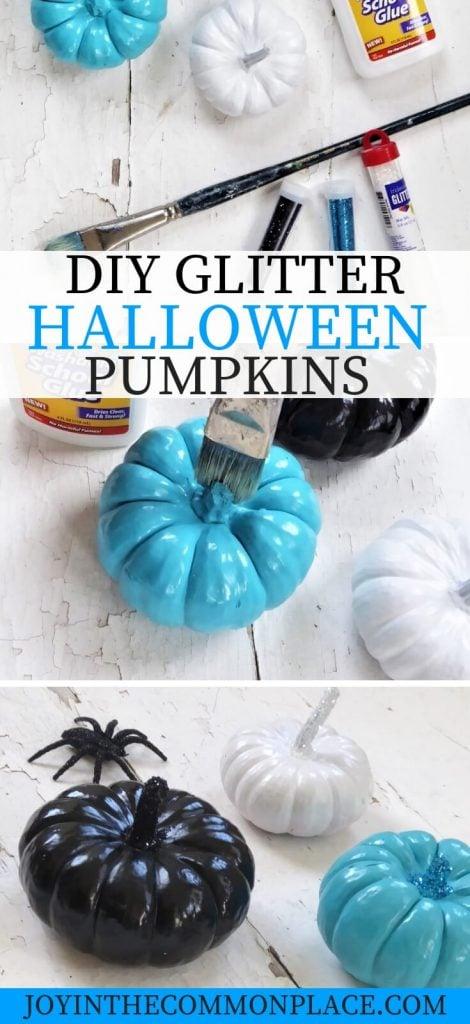 DIY Glitter Halloween Pumpkins