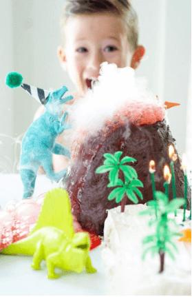 Dinosaur Cake with Exploding Lava Volcano