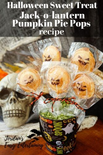 Halloween sweet treat Jack-o-lantern pumpkin pie pops recipe