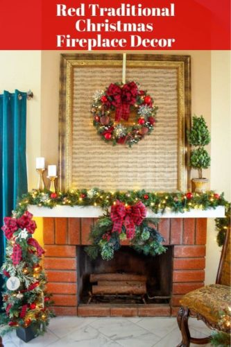 red traditional fireplace decor